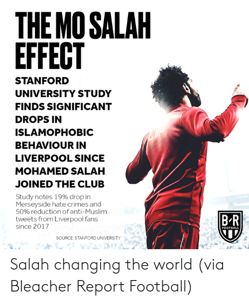 Stanford: THE MO SALAH  EFFECT  STANFORD  UNIVERSITY STUDY  FINDS SIGNIFICANT  DROPS IN  ISLAMOPHOBIC  BEHAVIOUR IN  LIVERPOOL SINCE  MOHAMED SALAH  JOINED THE CLUB  Study notes 19% drop in  Merseyside hate crimes and  50% reductionof anti-Muslim  tweets from Liverpool fans  B R  since 2017  FOOTBALL  SOURCE: STANFORD UNIVERSITY Salah changing the world  (via Bleacher Report Football)