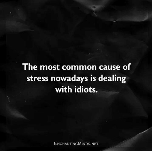 Idiotness: The most common cause of  stress nowadays is dealing  with idiots.  ENCHANTING MINDs.NET