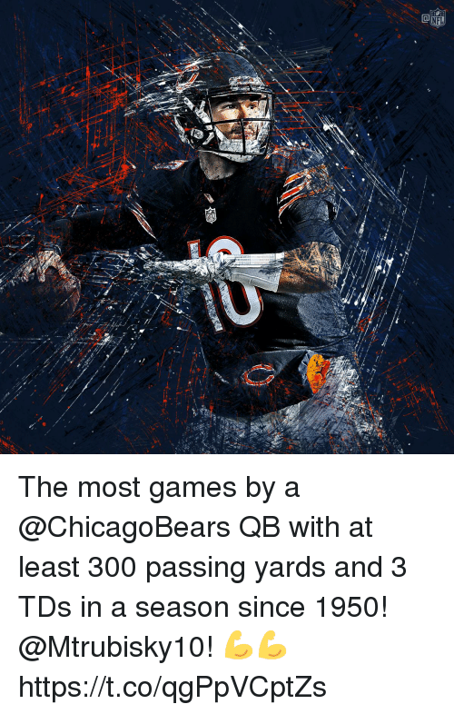chicagobears: The most games by a @ChicagoBears QB with at least 300 passing yards and 3 TDs in a season since 1950!  @Mtrubisky10! 💪💪 https://t.co/qgPpVCptZs
