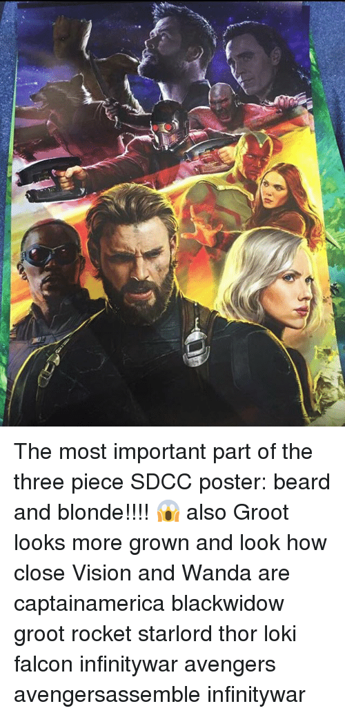 posterization: The most important part of the three piece SDCC poster: beard and blonde!!!! 😱 also Groot looks more grown and look how close Vision and Wanda are captainamerica blackwidow groot rocket starlord thor loki falcon infinitywar avengers avengersassemble infinitywar