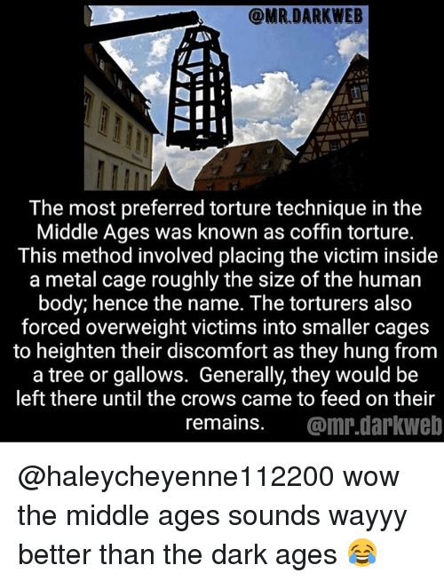 methodical: The most preferred torture technique in the  Middle Ages was known as coffin torture.  This method involved placing the victim inside  a metal cage roughly the size of the human  body; hence the name. The torturers also  forced overweight victims into smaller cages  to heighten their discomfort as they hung from  a tree or gallows. Generally, they would be  left there until the crows came to feed on their  remains. @mr.darkweb @haleycheyenne112200 wow the middle ages sounds wayyy better than the dark ages 😂