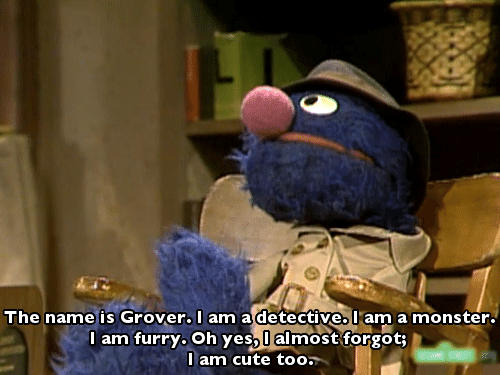 I Am Cute: The name is Grover. I am a detective. I am a monster.  I am furry. Oh yes,l almost forgot;  I am cute too.
