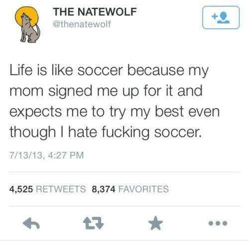 Try My Best: THE NATEWOLF  @thenatewolf  Life is like soccer because my  mom signed me up for it and  expects me to try my best evern  though I hate fucking soccer.  7/13/13, 4:27 PM  4,525 RETWEETS 8,374 FAVORITES