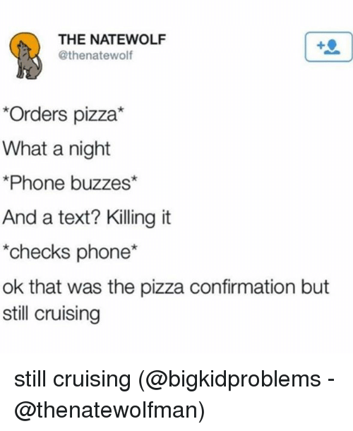 cruising: THE NATEWOLF  @thenatewolf  Orders pizza*  What a night  Phone buzzes*  And a text? Killing it  checks phone*  ok that was the pizza confirmation but  still cruising still cruising (@bigkidproblems - @thenatewolfman)
