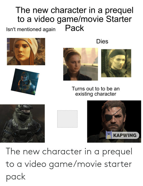 video game: The new character in a prequel to a video game/movie starter pack