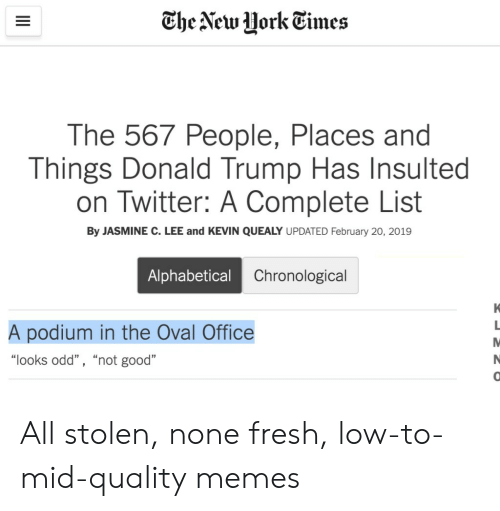"jasmine: The New HorkEimes  The 567 People, Places and  Things Donald Trump Has Insulted  on Twitter: A Complete List  By JASMINE C. LEE and KEVIN QUEALY UPDATED February 20, 2019  Alphabetical  Chronological  A podium in the Oval Office  ""looks odd"" , ""not good""  0 All stolen, none fresh, low-to-mid-quality memes"