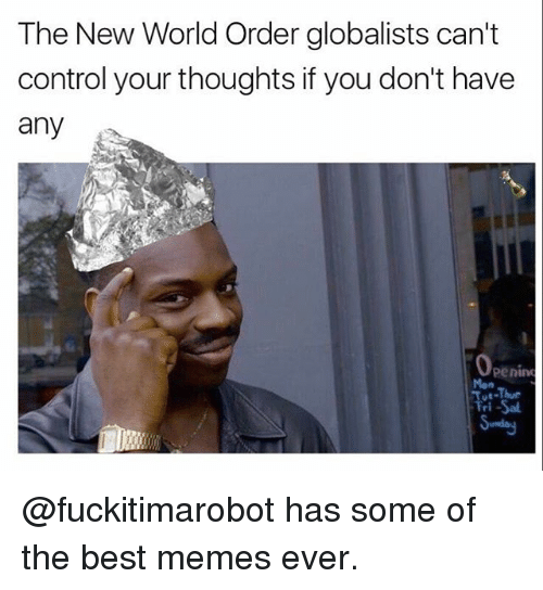 best memes ever: The New World Order globalists can't  control your thoughts if you don't have  any  Openim  Tri-Sal @fuckitimarobot has some of the best memes ever.