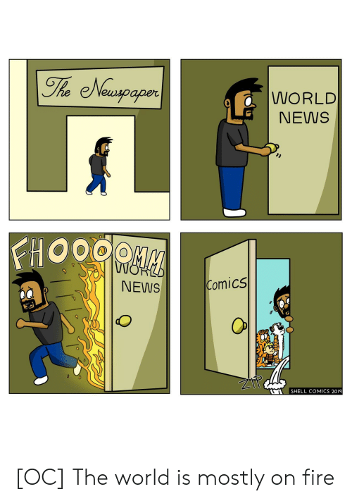 Fire, News, and World: The Newspaper  WORLD  NEWS  FHOOOO  NOP  Comics  NEWS  SHELL COMICS 2019 [OC] The world is mostly on fire
