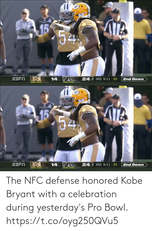 bowl: The NFC defense honored Kobe Bryant with a celebration during yesterday's Pro Bowl. https://t.co/oyg250QVu5