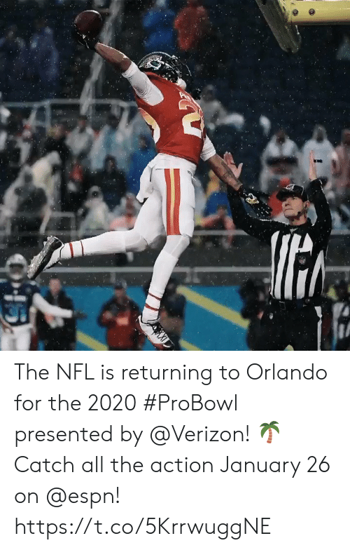Orlando: The NFL is returning to Orlando for the 2020 #ProBowl presented by @Verizon! 🌴 Catch all the action January 26 on @espn! https://t.co/5KrrwuggNE