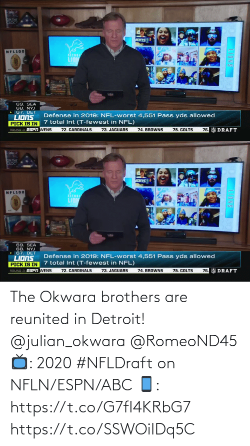 ABC: The Okwara brothers are reunited in Detroit! @julian_okwara @RomeoND45  📺: 2020 #NFLDraft on NFLN/ESPN/ABC 📱: https://t.co/G7fI4KRbG7 https://t.co/SSWOiIDq5C