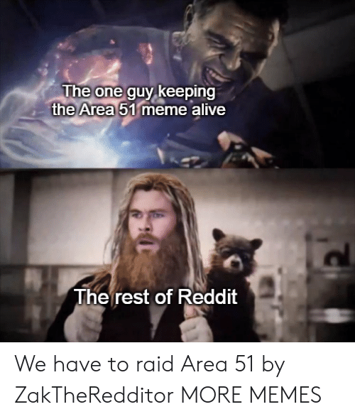 Alive, Dank, and Meme: The one guy keeping  the Area 51 meme alive  The rest of Reddit We have to raid Area 51 by ZakTheRedditor MORE MEMES