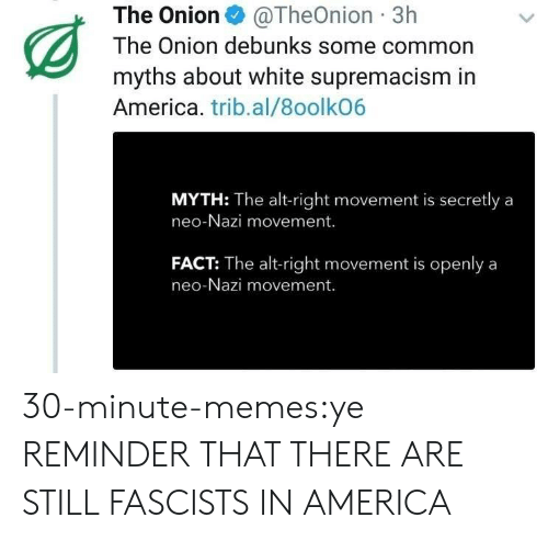The Onion: The Onion@TheOnion 3h  The Onion debunks some common  myths about white supremacism in  America. trib.al/8oolkO6  MYTH: The alt-right movement is secretly a  neo-Nazi movement.  FACT: The alt-right movement is openlya  neo-Nazi movement. 30-minute-memes:ye REMINDER THAT THERE ARE STILL FASCISTS IN AMERICA