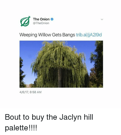 willow: The Onion  @TheOnion  Weeping Willow Gets Bangs  trib.aliA219d  4/6117, 8:58 AM Bout to buy the Jaclyn hill palette!!!!