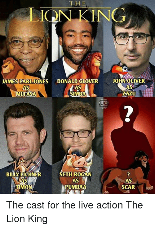 Donald Glover, Memes, and The Lion King: THE  ONKING  JAMES EARLJONES DONALD GLOVER  AS  MUFASA  AS  -SIMBA  AS  ZAZU  BILLY EICHNER  AS  TIMON  SETH ROGAN  AS  PUMBAA  AS  SCAR The cast for the live action The Lion King