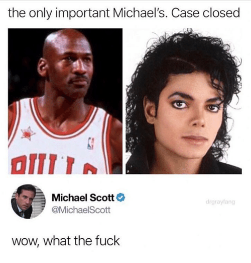 Ironic, Michael Scott, and Wow: the only important Michael's. Case closed  Michael Scott  @MichaelScott  wow, what the fuck