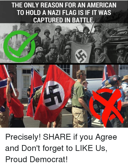 Nazy: THE ONLY REASON FOR AN AMERICAN  TO HOLD A NAZI FLAG IS IF IT WAS  CAPTURED IN BATTLE Precisely!  SHARE if you Agree and Don't forget to LIKE Us, Proud Democrat!