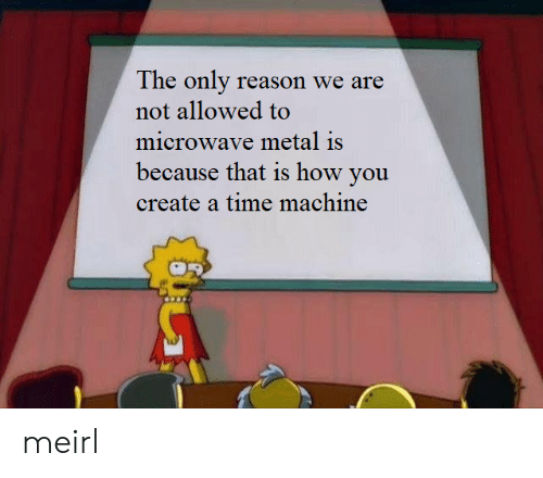Time, Reason, and Metal: The only reason we are  not allowed to  microwave metal is  because that is how you  create a time machine meirl