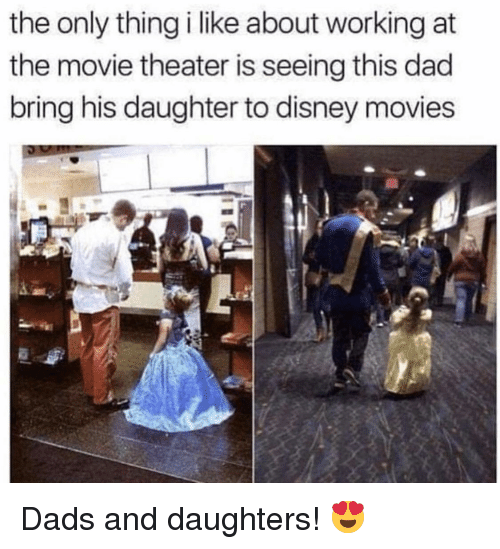 Dad, Disney, and Movies: the only thing i like about working at  the movie theater is seeing this dad  bring his daughter to disney movies Dads and daughters! 😍