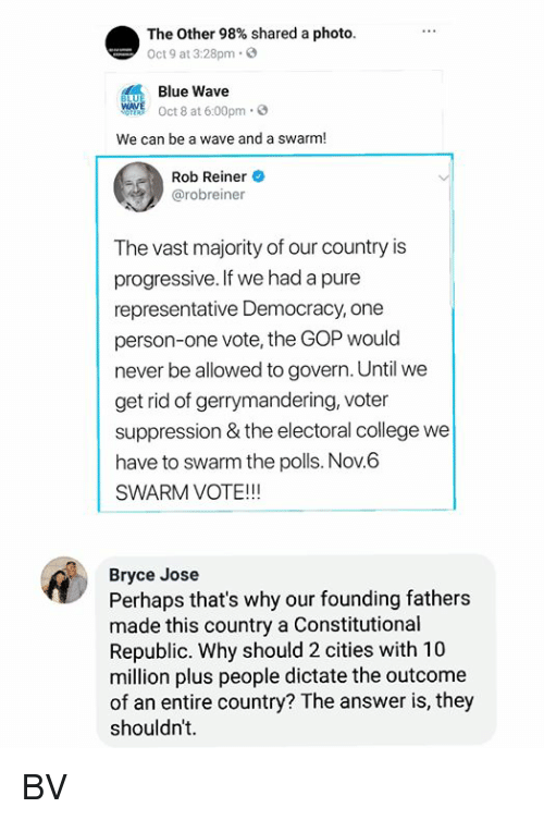 electoral college: The Other 98% shared a photo.  Oct 9 at 3:28pm.  Blue Wave  WAVE Oct 8 at 6:00pm 3  We can be a wave and a swarm!  Rob Reiner  @robreiner  The vast majority of our country is  progressive. If we had a pure  representative Democracy, one  person-one vote, the GOP would  never be allowed to govern. Until we  get rid of gerrymandering, voter  suppression & the electoral college we  have to swarm the polls. Nov.6  SWARM VOTE!!!  Bryce Jose  Perhaps that's why our founding fathers  made this country a Constitutional  Republic. Why should 2 cities with 10  million plus people dictate the outcome  of an entire country? The answer is, they  shouldn't. BV