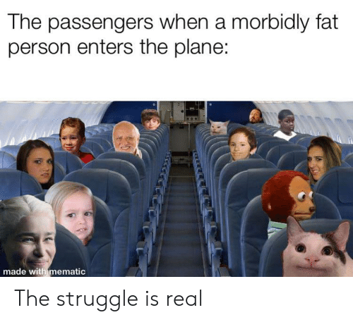 Passengers: The passengers when a morbidly fat  person enters the plane:  made with mematic  নম The struggle is real