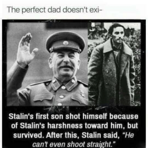 "Towardly: The perfect dad doesn't exi-  Stalin's first son shot himself because  of Stalin's harshness toward him, but  survived. After this, Stalin said, ""He  can't even shoot straight."""