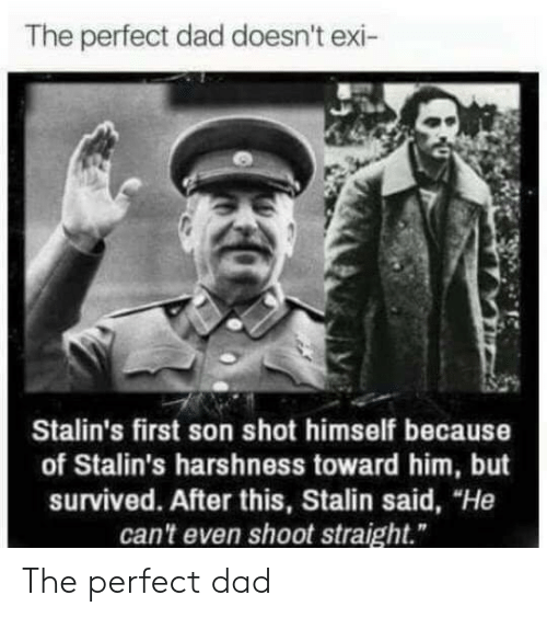 """Dad, Stalin, and Him: The perfect dad doesn't exi-  Stalin's first son shot himself because  of Stalin's harshness toward him, but  survived. After this, Stalin said, """"He  can't even shoot straight."""" The perfect dad"""