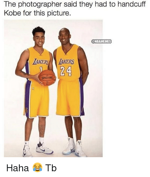 spalding: The photographer said they had to handcuff  Kobe for this picture.  @NBAMEMES  AKERS AKERS  24  SPALDING Haha 😂 Tb