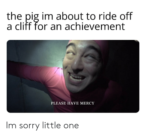 Mercy: the pig im about to ride off  a cliff for an achievement  PLEASE HAVE MERCY Im sorry little one