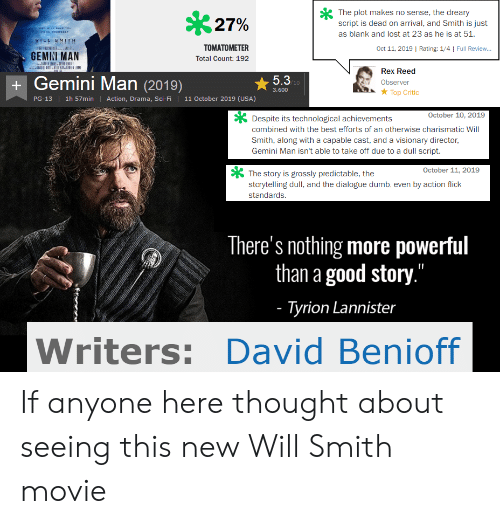 """Dumb, Will Smith, and Lost: The plot makes no sense, the dreary  script is dead on arrival, and Smith is just  27%  wHD WILL AVE YOUu  PROM YOURBELF  as blank and lost at 23 as he is at 51.  IEE EMITH  il CE E us  TOMATOMETER  Oct 11, 2019 