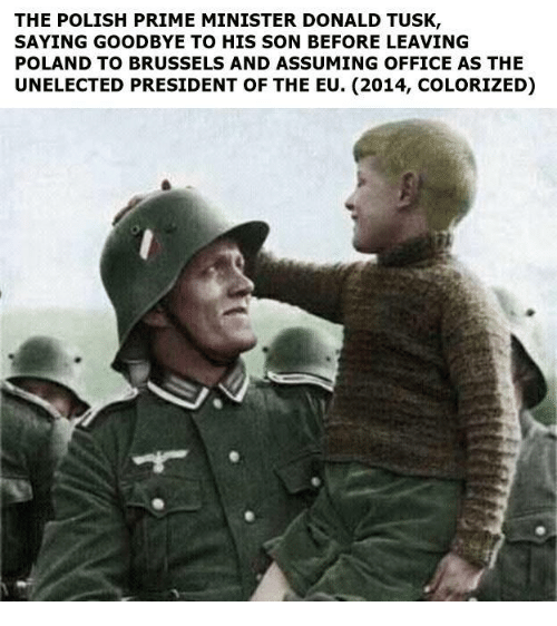 donald tusk: THE POLISH PRIME MINISTER DONALD TUSK  SAYING GOODBYE TO HIS SON BEFORE LEAVING  POLAND TO BRUSSELS AND ASSUMING OFFICE AS THE  UNELECTED PRESIDENT OF THE EU. (2014, COLORIZED)
