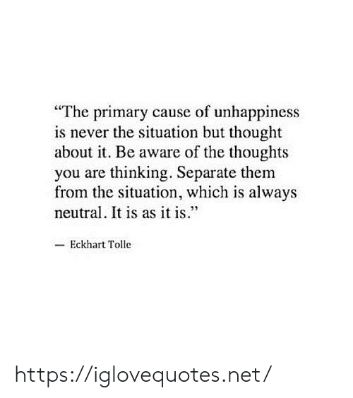 "As It Is: ""The primary cause of unhappiness  is never the situation but thought  about it. Be aware of the thoughts  you are thinking. Separate them  from the situation, which is always  neutral. It is as it is.""  -Eckhart Tolle https://iglovequotes.net/"