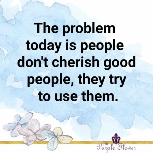 good people: The problem  today is people  don't cherish good  people, they try  to use them.  Purple Slower