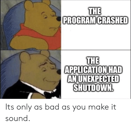 Bad, Sound, and Make: THE  PROGRAM CRASHED  THE  APPLICATION HAD  ANUNEXPECTED  SHUTDOWN Its only as bad as you make it sound.