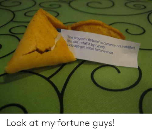 mod: The program 'fortune' is currently not installed  You can install it by typing:  udo apt-get install fortune-mod Look at my fortune guys!