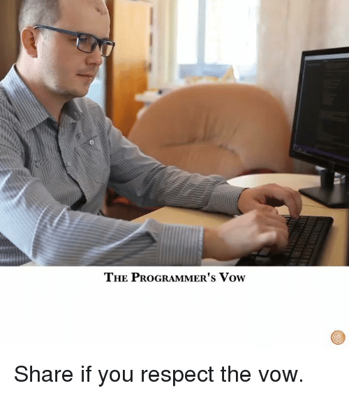 The Vow: THE PROGRAMMER's vow Share if you respect the vow.