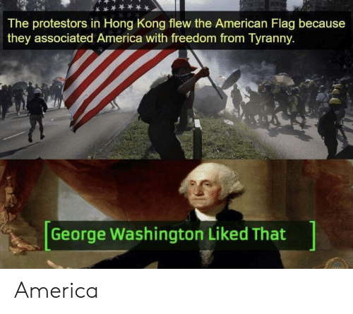 America, American, and American Flag: The protestors in Hong Kong flew the American Flag because  they associated America with freedom from Tyranny  George Washington Liked That America
