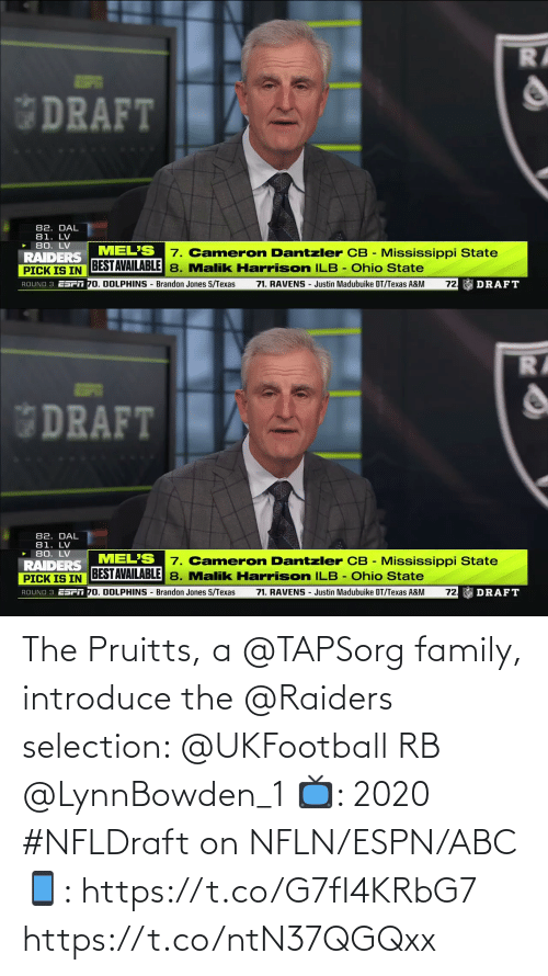 ABC: The Pruitts, a @TAPSorg family, introduce the @Raiders selection: @UKFootball RB @LynnBowden_1   📺: 2020 #NFLDraft on NFLN/ESPN/ABC 📱: https://t.co/G7fI4KRbG7 https://t.co/ntN37QGQxx