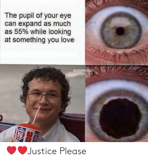 Pupil: The pupil of your eye  can expand as much  as 55% while looking  at something you love  @SUPERNOVAJAZZY ❤️❤️Justice Please