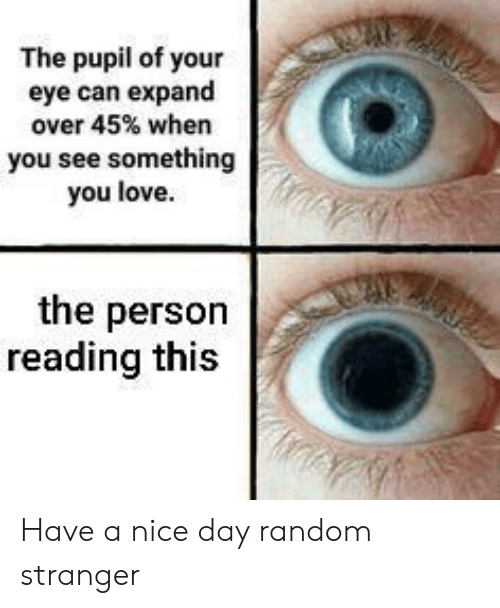 Pupil: The pupil of your  eye can expand  over 45% when  you see something  you love  the person  reading this Have a nice day random stranger