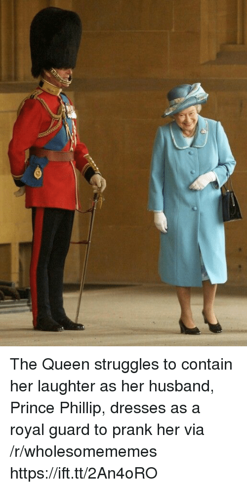 Prank, Prince, and Queen: The Queen struggles to contain her laughter as her husband, Prince Phillip, dresses as a royal guard to prank her via /r/wholesomememes https://ift.tt/2An4oRO