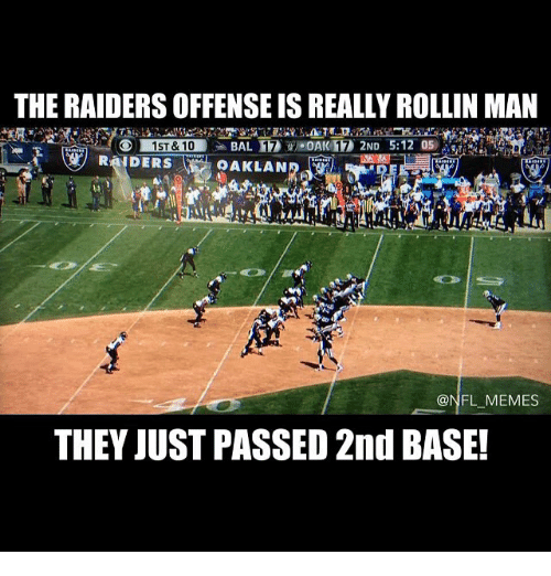 2nd base: THE RAIDERSOFFENSE ISREALLYROLLIN MAN  BAL OAK 2ND 5:12 05  1ST & 10  RAIDERS  ONFL MEMES  THEY JUST PASSED 2nd BASE!