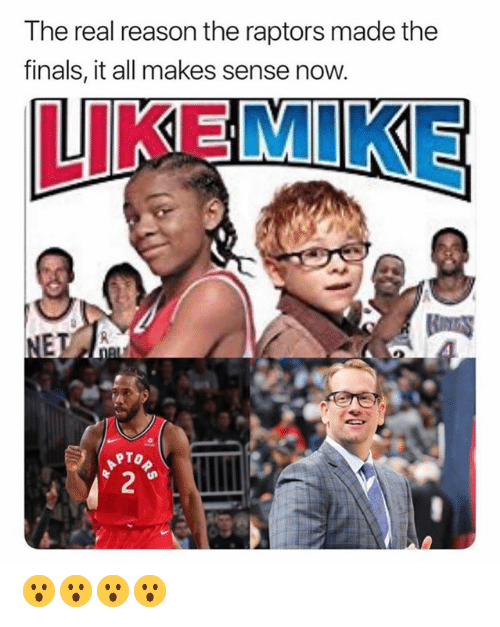 the finals: The real reason the raptors made the  finals, it all makes sense now.  LIKEMIKE  RTO 😮😮😮😮