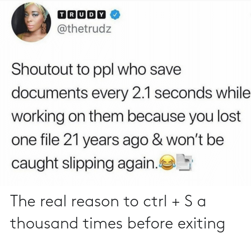 The Real: The real reason to ctrl + S a thousand times before exiting