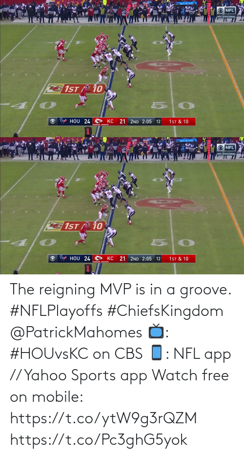 CBS: The reigning MVP is in a groove. #NFLPlayoffs #ChiefsKingdom @PatrickMahomes  📺: #HOUvsKC on CBS 📱: NFL app // Yahoo Sports app Watch free on mobile: https://t.co/ytW9g3rQZM https://t.co/Pc3ghG5yok