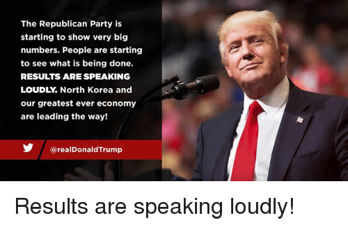 North Korea, Party, and Republican Party: The Republican Party is  starting to show very big  numbers. People are starting  to see what is being done.  RESULTS ARE SPEAKING  LOUDLY. North Korea and  our greatest ever economy  are leading the way!  @realDonaldTrump Results are speaking loudly!