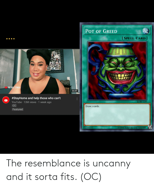 resemblance: The resemblance is uncanny and it sorta fits. (OC)
