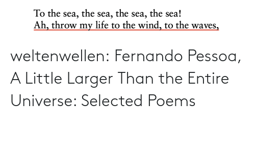 sea: the sea!  the  the  To the sea,  Ah, throw my life to the wind, to the waves,  sea,  sea, weltenwellen:  Fernando Pessoa, A Little Larger Than the Entire Universe: Selected Poems