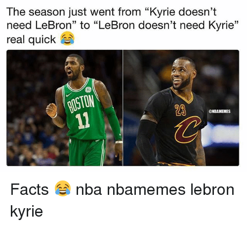 """Basketball, Facts, and Nba: The season just went from """"Kyrie doesn't  need LeBron"""" to """"LeBron doesn't need Kyrie""""  real quick  ON  28  @NBAMEMES Facts 😂 nba nbamemes lebron kyrie"""