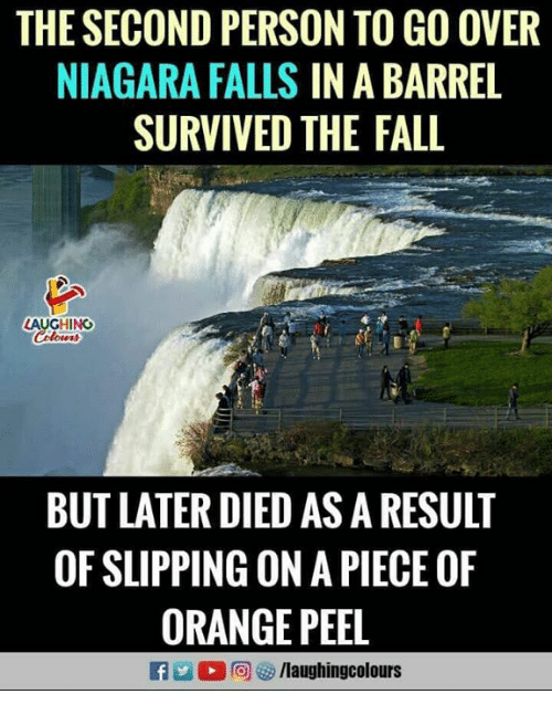 Niagara Falls: THE SECOND PERSON TO GO OVER  NIAGARA FALLS IN A BARREL  SURVIVED THE FALL  LAUGHING  BUT LATER DIED AS A RESULT  OF SLIPPING ON A PIECE OF  ORANGE PEEL  flaughingcolours